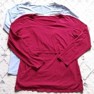 Two nursing tops long sleeved size large